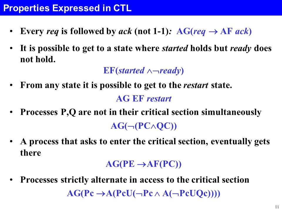 11 Properties Expressed in CTL Every req is followed by ack (not 1-1): AG(req  AF ack) It is possible to get to a state where started holds but ready does not hold.