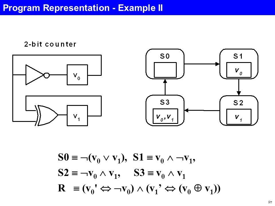 46 S0   (v 0  v 1 ), S1  v 0   v 1, S2   v 0  v 1, S3  v 0  v 1 R  (v 0   v 0 )  (v 1 '  (v 0  v 1 )) Program Representation - Example II