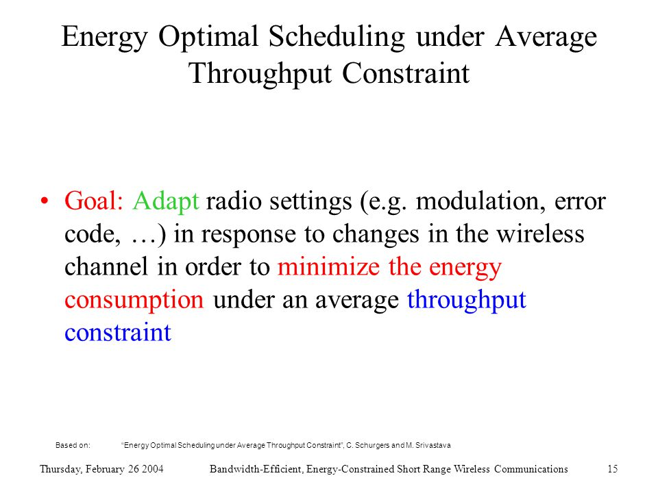 Thursday, February 26 2004Bandwidth-Efficient, Energy-Constrained Short Range Wireless Communications15 Energy Optimal Scheduling under Average Throughput Constraint Goal: Adapt radio settings (e.g.