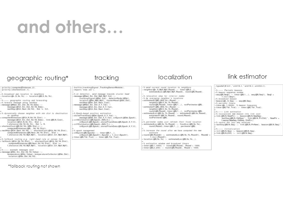 and others… geographic routing* tracking localization link estimator *fallback routing not shown