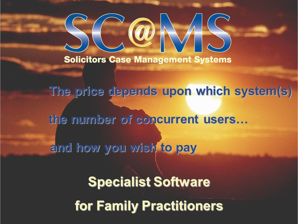 Specialist Software for Family Practitioners The price depends upon which system(s) the number of concurrent users… and how you wish to pay