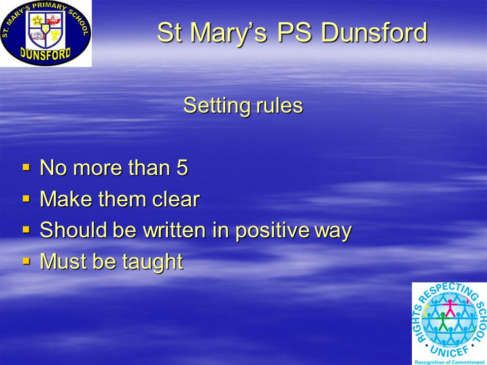 St Mary's PS Dunsford St Mary's PS Dunsford Setting rules  No more than 5  Make them clear  Should be written in positive way  Must be taught