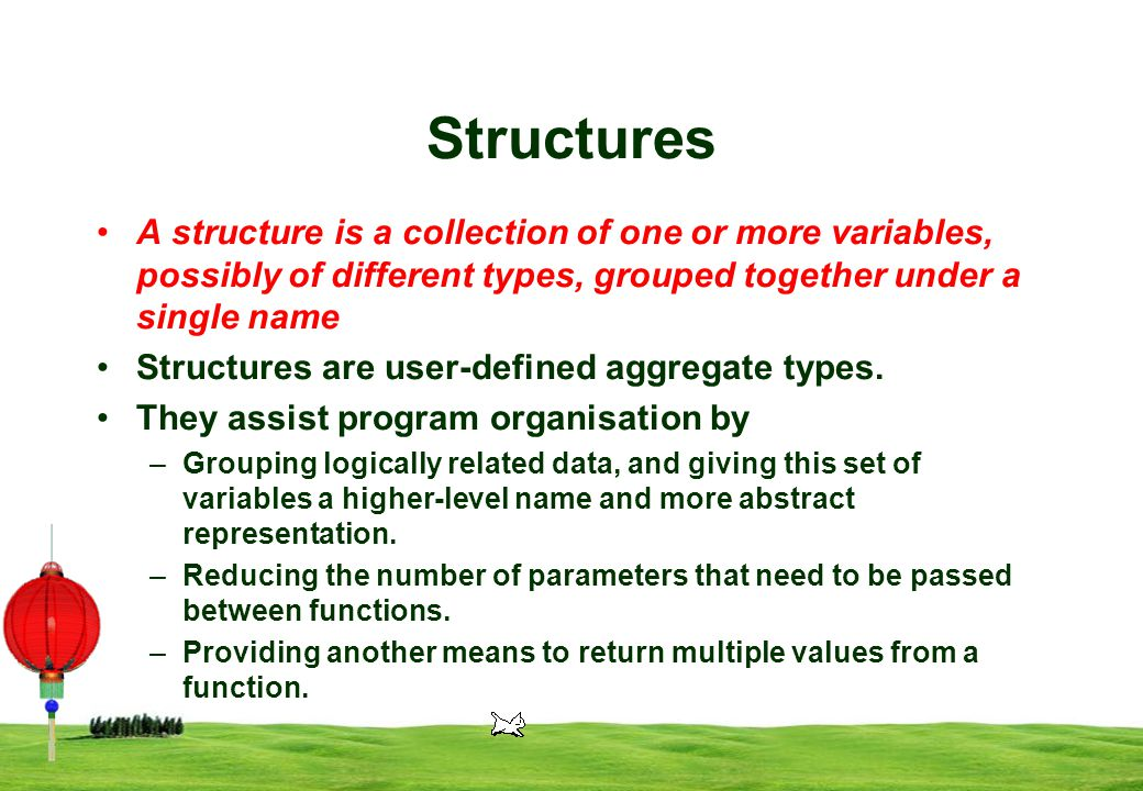 3 Structures A structure is a collection of one or more variables, possibly of different types, grouped together under a single name Structures are user-defined aggregate types.