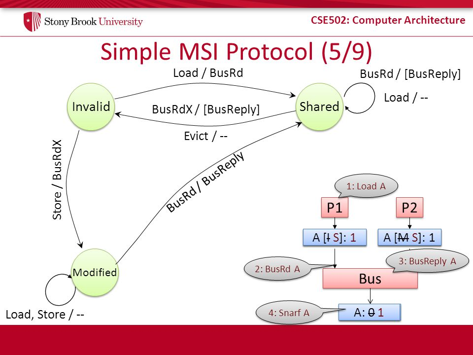 CSE502: Computer Architecture Simple MSI Protocol (5/9) Store / BusRdX Invalid Load / BusRd Shared Load / -- BusRd / [BusReply] Modified Evict / -- Bu