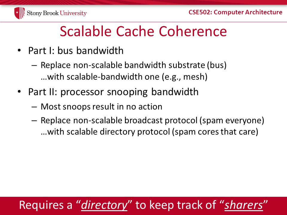 CSE502: Computer Architecture Scalable Cache Coherence Part I: bus bandwidth – Replace non-scalable bandwidth substrate (bus) …with scalable-bandwidth