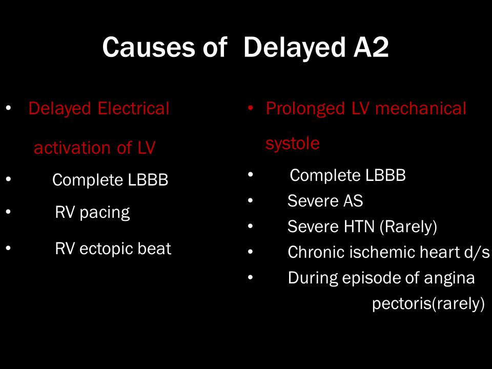 Causes of Delayed A2 Delayed Electrical activation of LV Complete LBBB RV pacing RV ectopic beat Prolonged LV mechanical systole Complete LBBB Severe