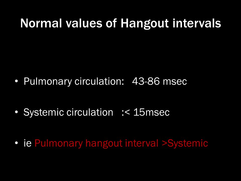 Normal values of Hangout intervals Pulmonary circulation: 43-86 msec Systemic circulation :< 15msec ie Pulmonary hangout interval >Systemic