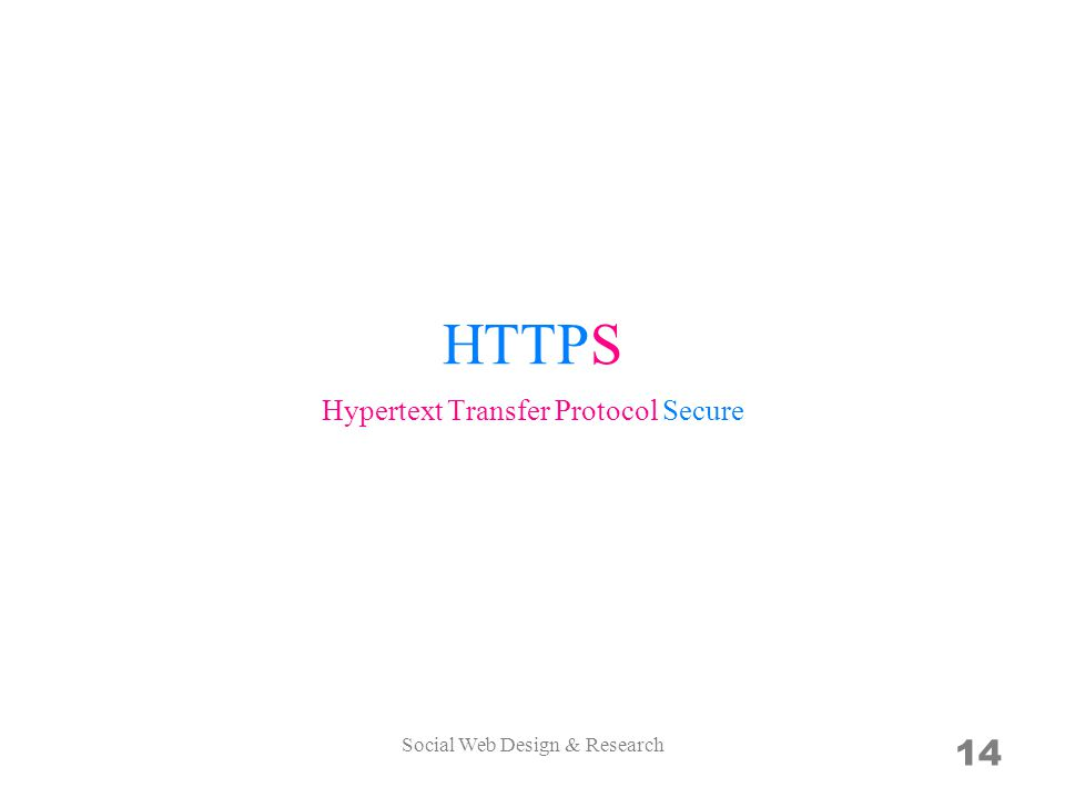 HTTPS 14 Hypertext Transfer Protocol Secure Social Web Design & Research