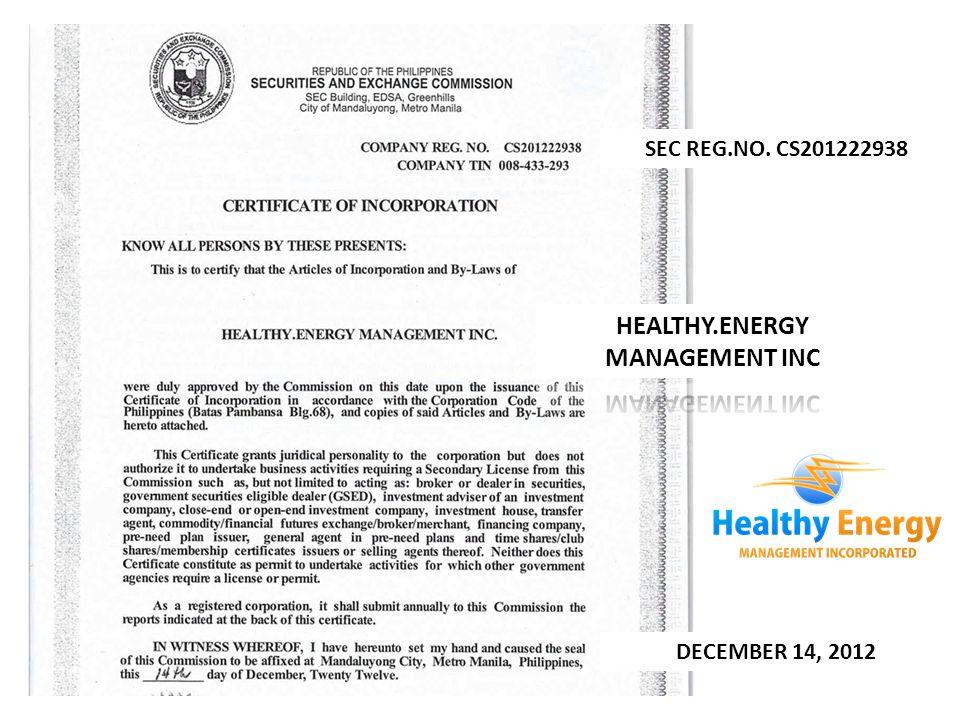 SEC REG.NO. CS201222938 DECEMBER 14, 2012