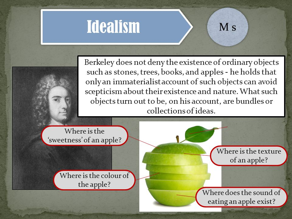 Idealism M s Berkeley does not deny the existence of ordinary objects such as stones, trees, books, and apples - he holds that only an immaterialist account of such objects can avoid scepticism about their existence and nature.