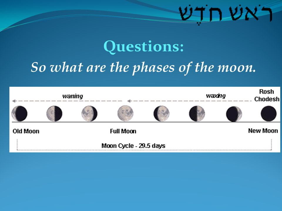 Questions: So what are the phases of the moon.