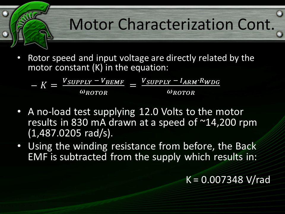 K = 0.007348 V/rad Motor Characterization Cont.