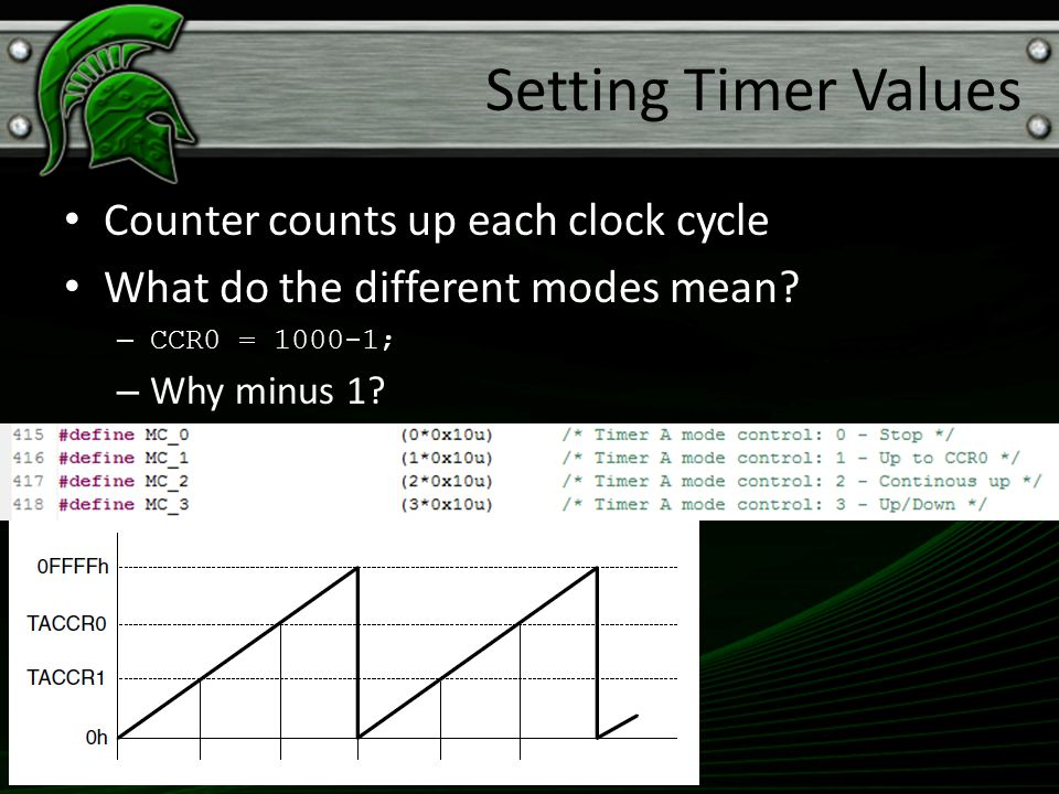 Counter counts up each clock cycle What do the different modes mean? – CCR0 = 1000-1; – Why minus 1? Setting Timer Values