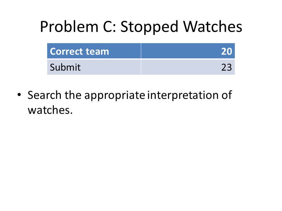 Problem C: Stopped Watches Search the appropriate interpretation of watches.