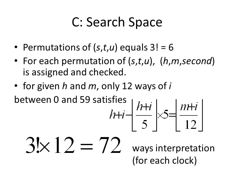 C: Search Space Permutations of (s,t,u) equals 3.
