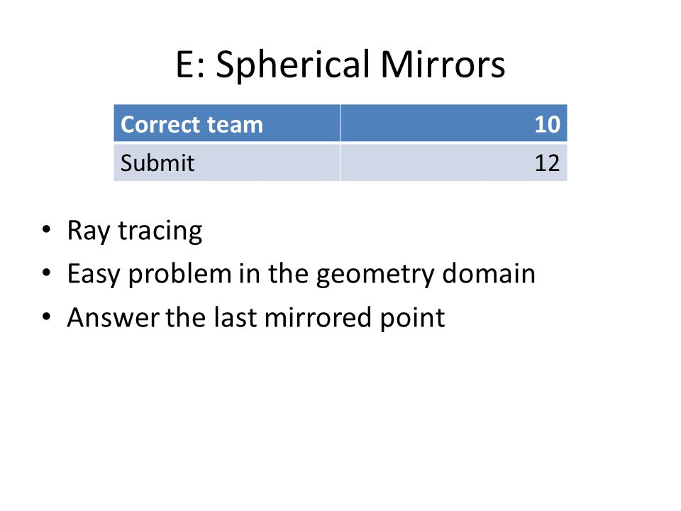 E: Spherical Mirrors Ray tracing Easy problem in the geometry domain Answer the last mirrored point Correct team10 Submit12