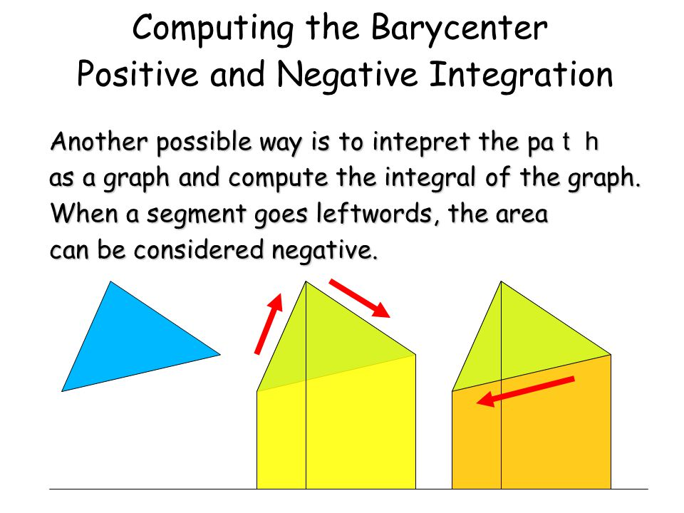 Computing the Barycenter Positive and Negative Integration Another possible way is to intepret the pa th as a graph and compute the integral of the graph.