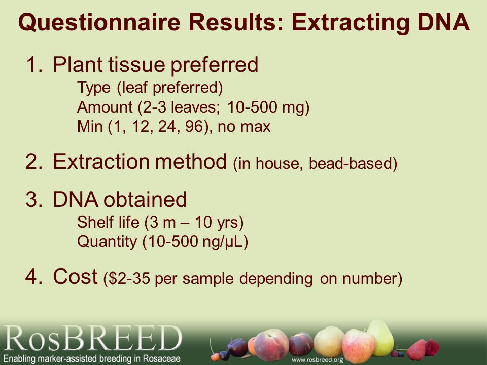 Questionnaire Results: Extracting DNA 1.Plant tissue preferred Type (leaf preferred) Amount (2-3 leaves; 10-500 mg) Min (1, 12, 24, 96), no max 2.Extraction method (in house, bead-based) 3.DNA obtained Shelf life (3 m – 10 yrs) Quantity (10-500 ng/µL) 4.Cost ($2-35 per sample depending on number)