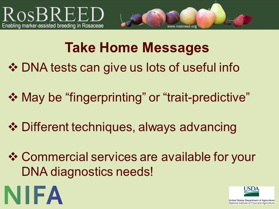 Take Home Messages  DNA tests can give us lots of useful info  May be fingerprinting or trait-predictive  Different techniques, always advancing  Commercial services are available for your DNA diagnostics needs!