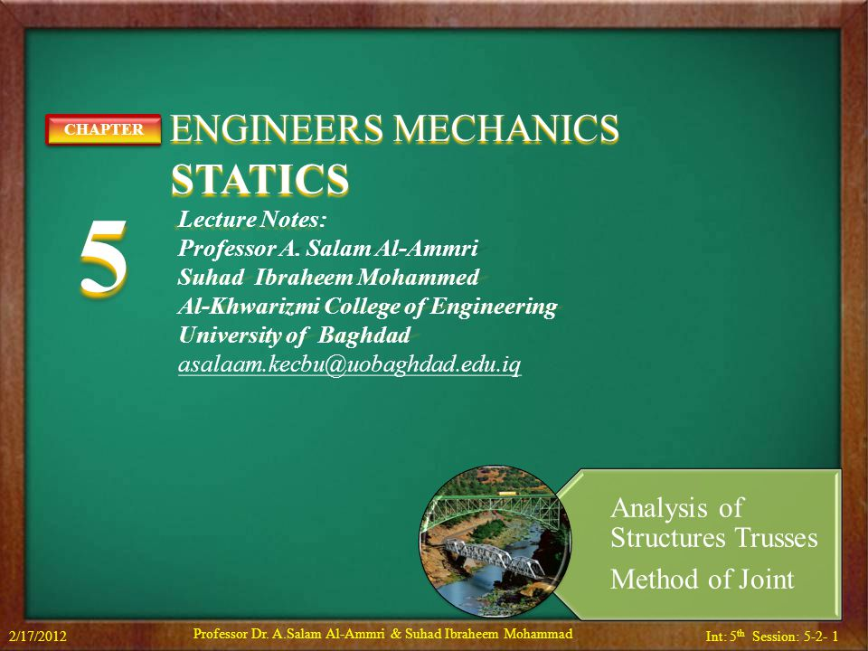 Int: 5 th Session: 5-2- 2 Contents 2/17/2012Professor Dr.