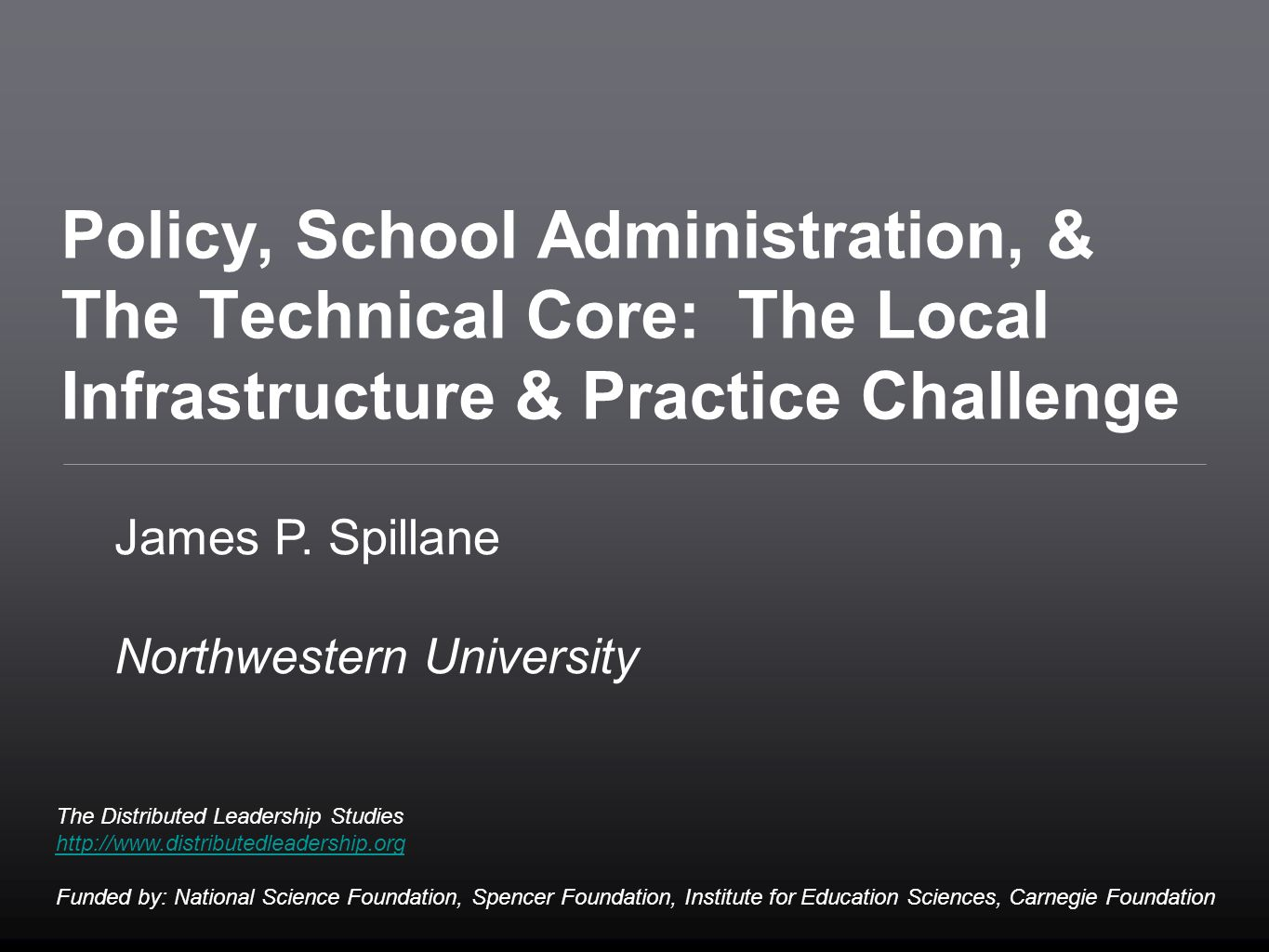 System and organizational [infra]structure  designing infrastructures to support instruction and its improvement  preparing school leaders to diagnosis and design School administrative practice and the resources that enable it  Getting at the the micro processes of administration – school administrative practice –while not losing sight of macro structures Beyond the school principal to other formal leaders (full- and part-time) Development