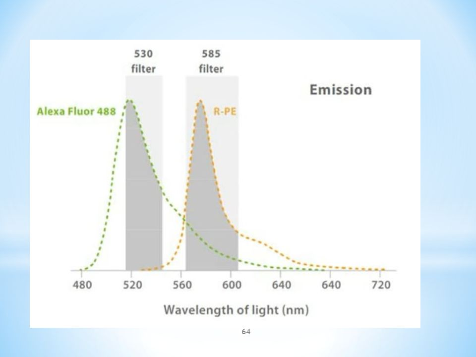  There is some overlap between the colors emitted by different fluorescent markers, therefore mathematical compensation is used to reduce overlapping results http://www.bdbiosciences.com 63