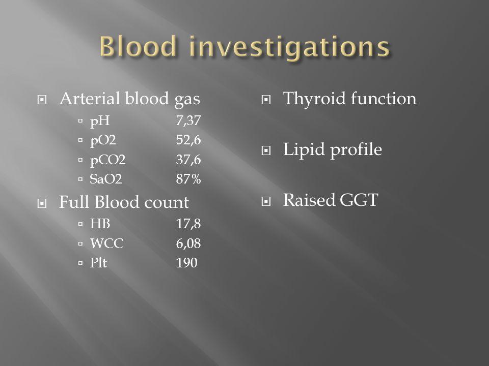  Arterial blood gas  pH7,37  pO252,6  pCO237,6  SaO287%  Full Blood count  HB17,8  WCC6,08  Plt190  Thyroid function  Lipid profile  Raise