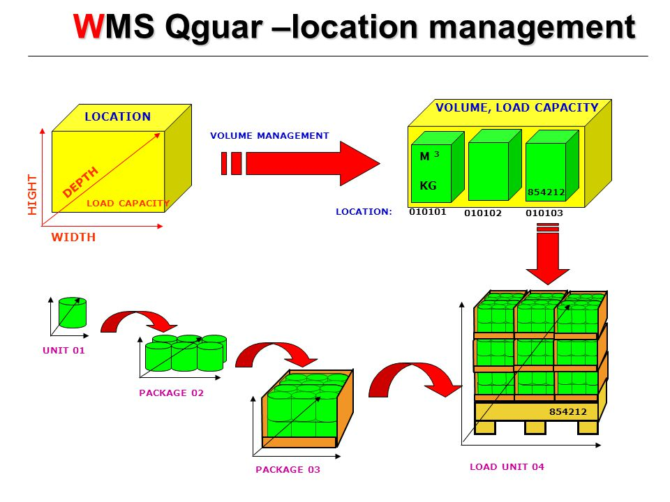 WMS Qguar –location management VOLUME, LOAD CAPACITY DEPTH WIDTH HIGHT UNIT 01 M 3 KG LOAD UNIT 04 PACKAGE 02 PACKAGE 03 LOCATION 010101 010102 010103 854212 LOCATION: LOAD CAPACITY VOLUME MANAGEMENT