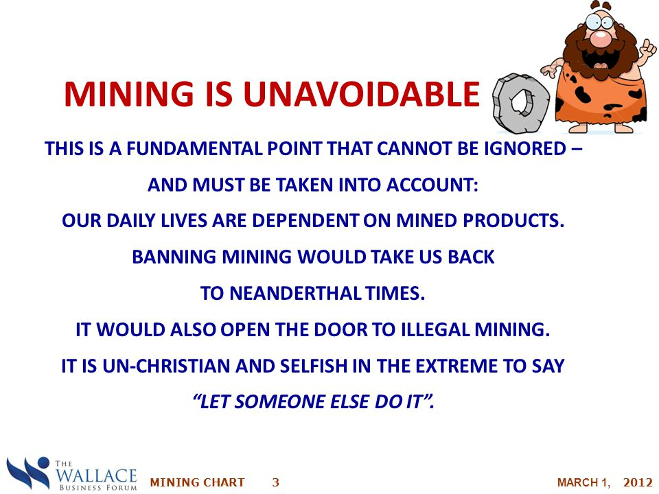 MINING CHART 3 MARCH 1, 2012 MINING IS UNAVOIDABLE THIS IS A FUNDAMENTAL POINT THAT CANNOT BE IGNORED – AND MUST BE TAKEN INTO ACCOUNT: OUR DAILY LIVE