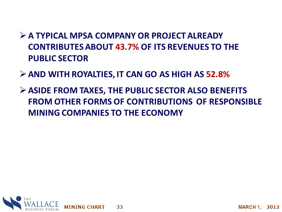MINING CHART 33 MARCH 1, 2012  A TYPICAL MPSA COMPANY OR PROJECT ALREADY CONTRIBUTES ABOUT 43.7% OF ITS REVENUES TO THE PUBLIC SECTOR  AND WITH ROYA
