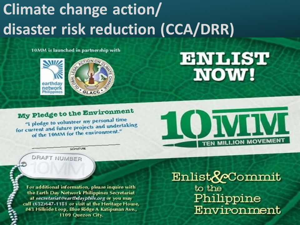 Climate change action/ disaster risk reduction (CCA/DRR)