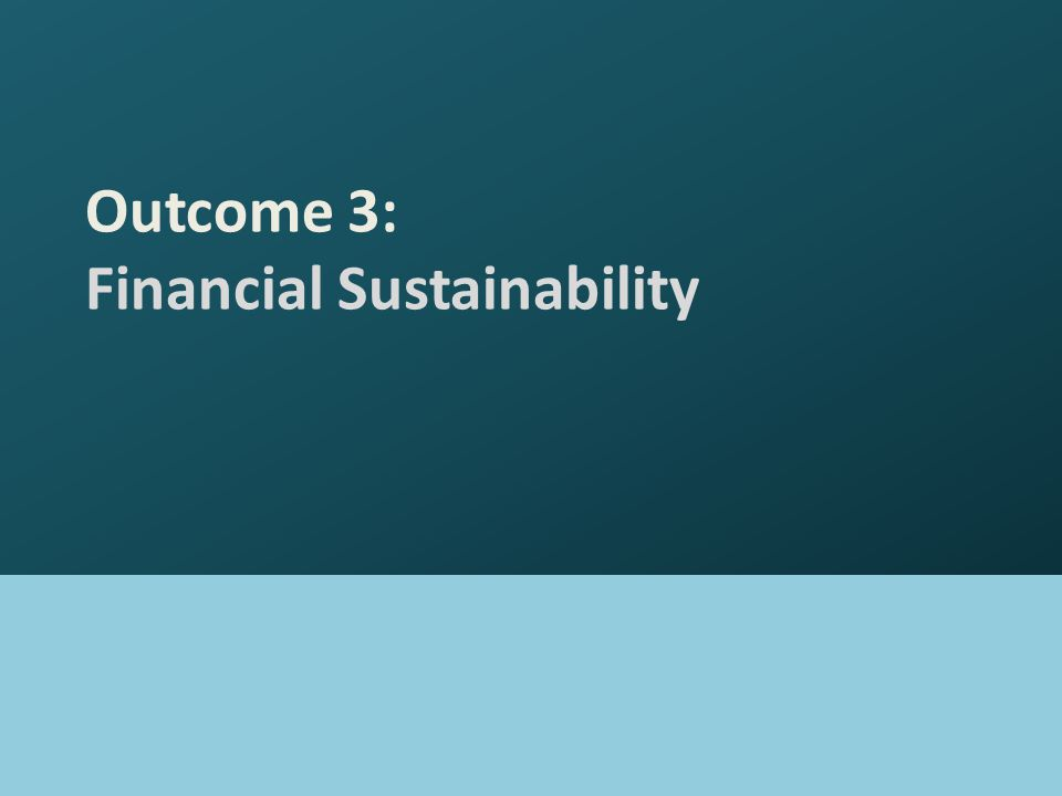 Outcome 3: Financial Sustainability