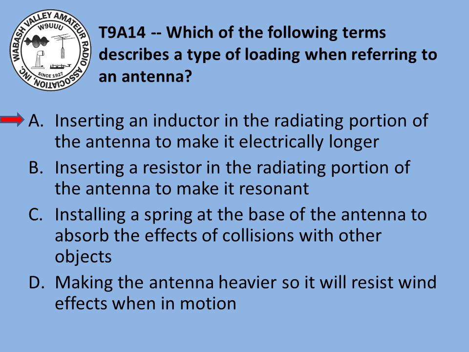 T9A14 -- Which of the following terms describes a type of loading when referring to an antenna.