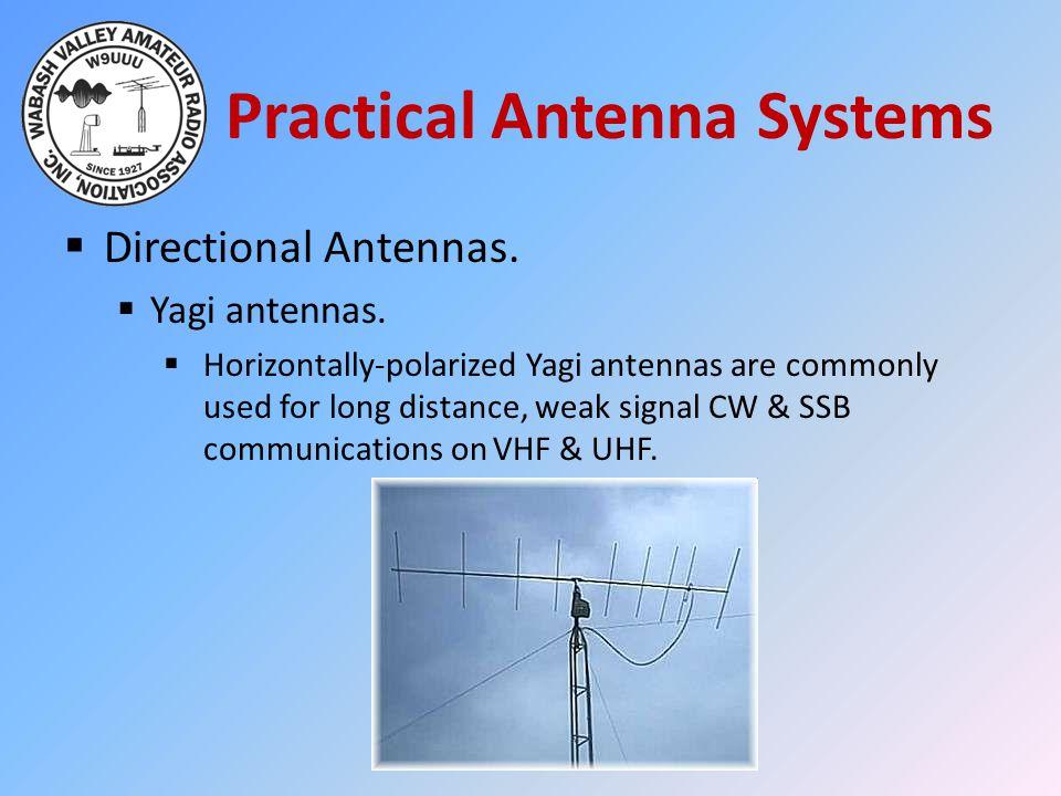 Practical Antenna Systems  Directional Antennas.  Yagi antennas.  Horizontally-polarized Yagi antennas are commonly used for long distance, weak si
