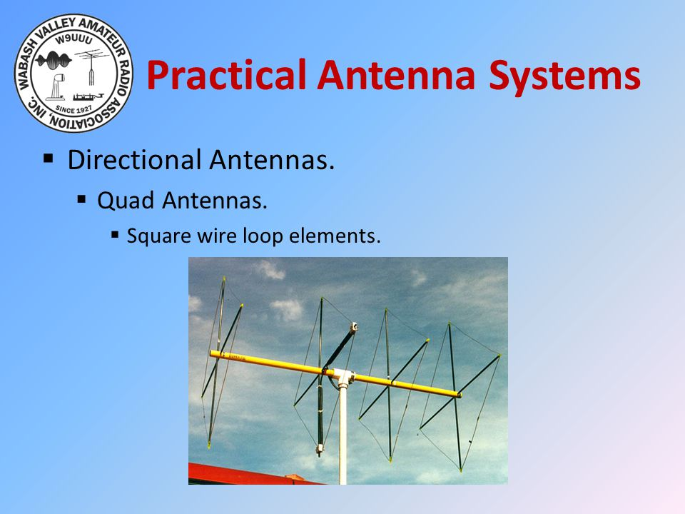 Practical Antenna Systems  Directional Antennas.  Quad Antennas.  Square wire loop elements.