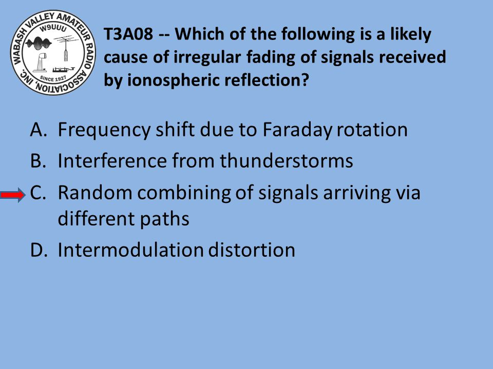 T3A08 -- Which of the following is a likely cause of irregular fading of signals received by ionospheric reflection.