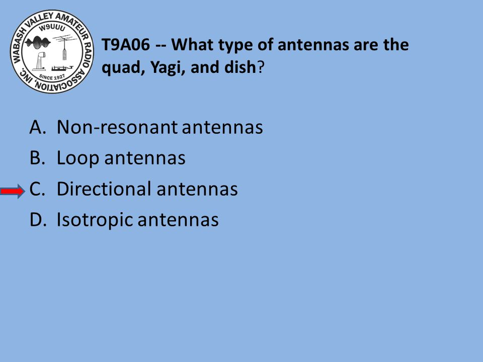 T9A06 -- What type of antennas are the quad, Yagi, and dish.
