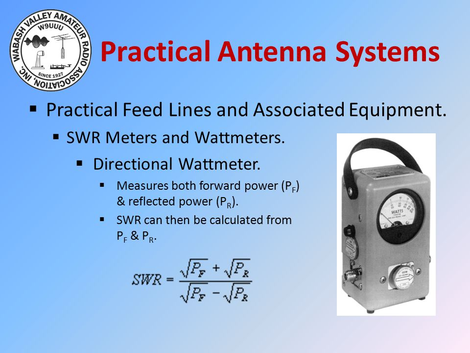 Practical Antenna Systems  Practical Feed Lines and Associated Equipment.