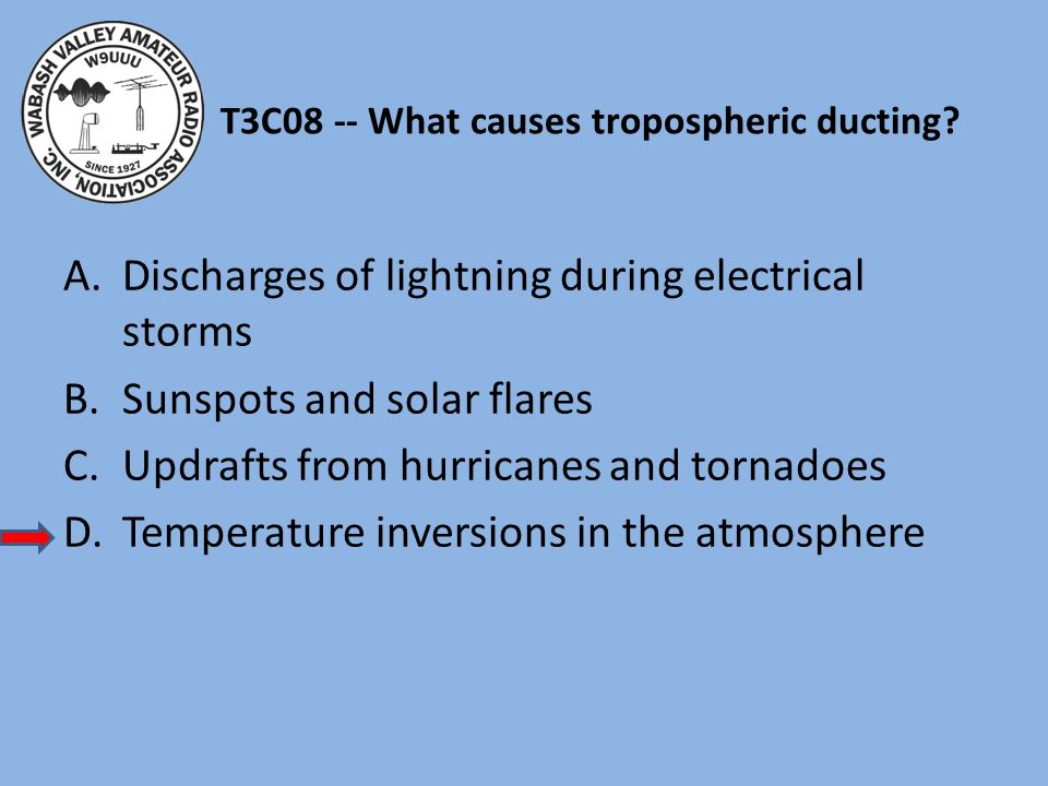 T3C08 -- What causes tropospheric ducting? A.Discharges of lightning during electrical storms B.Sunspots and solar flares C.Updrafts from hurricanes a