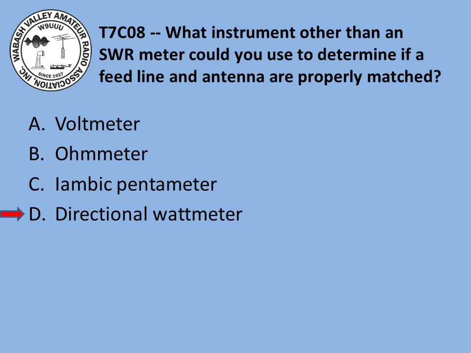 T7C08 -- What instrument other than an SWR meter could you use to determine if a feed line and antenna are properly matched.