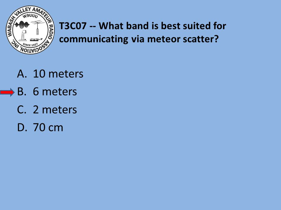 T3C07 -- What band is best suited for communicating via meteor scatter.