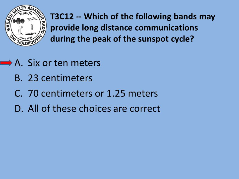 T3C12 -- Which of the following bands may provide long distance communications during the peak of the sunspot cycle.