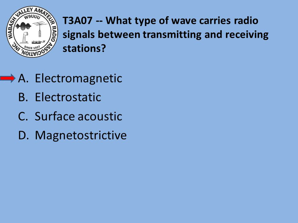 T3A07 -- What type of wave carries radio signals between transmitting and receiving stations.