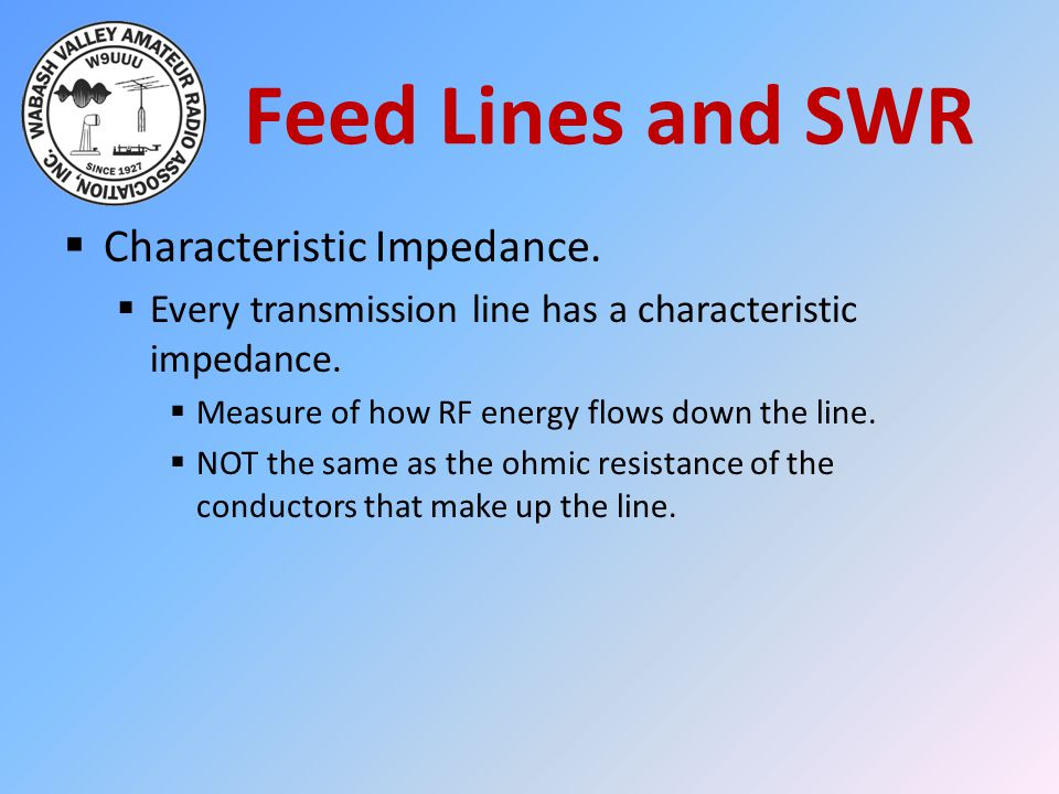 Feed Lines and SWR  Characteristic Impedance.
