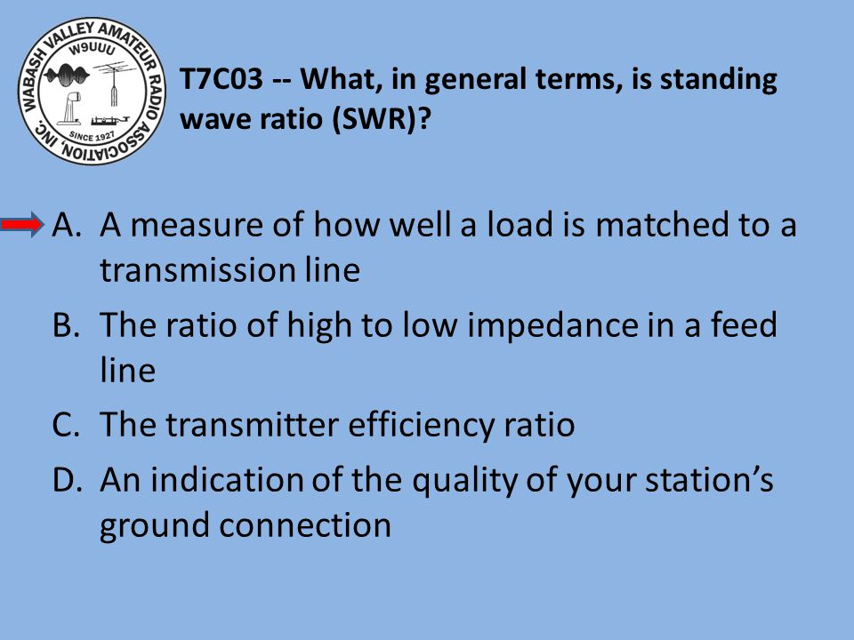 T7C03 -- What, in general terms, is standing wave ratio (SWR).