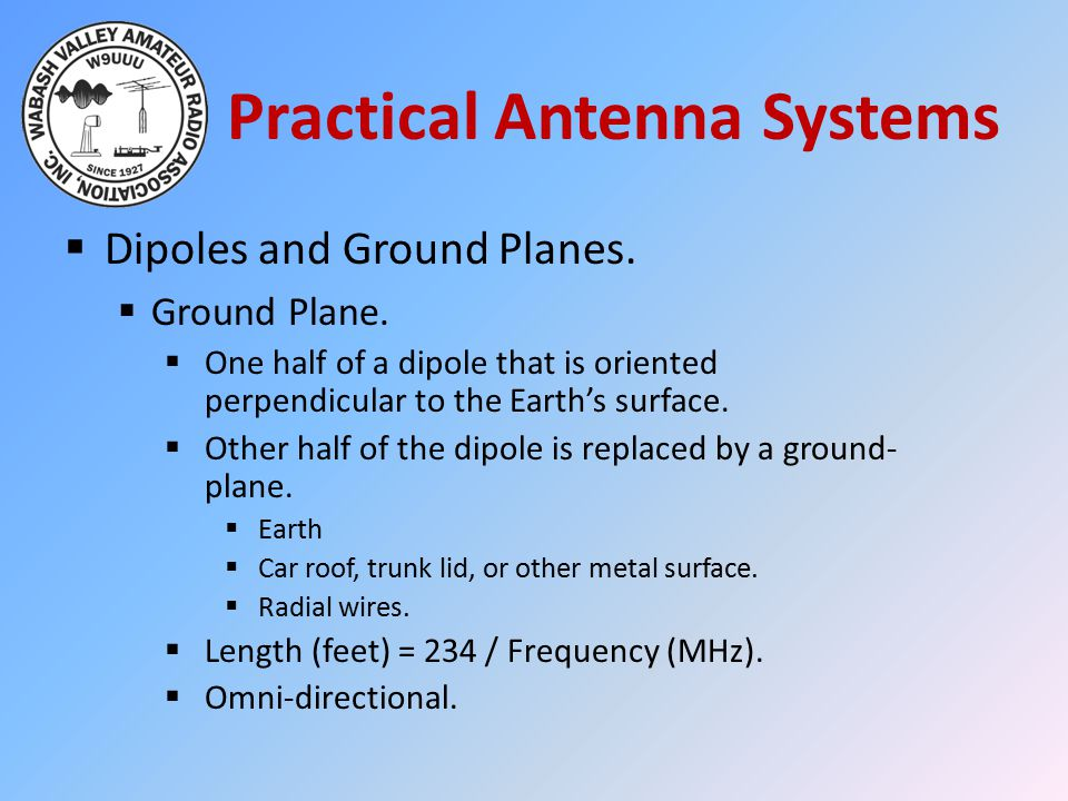 Practical Antenna Systems  Dipoles and Ground Planes.