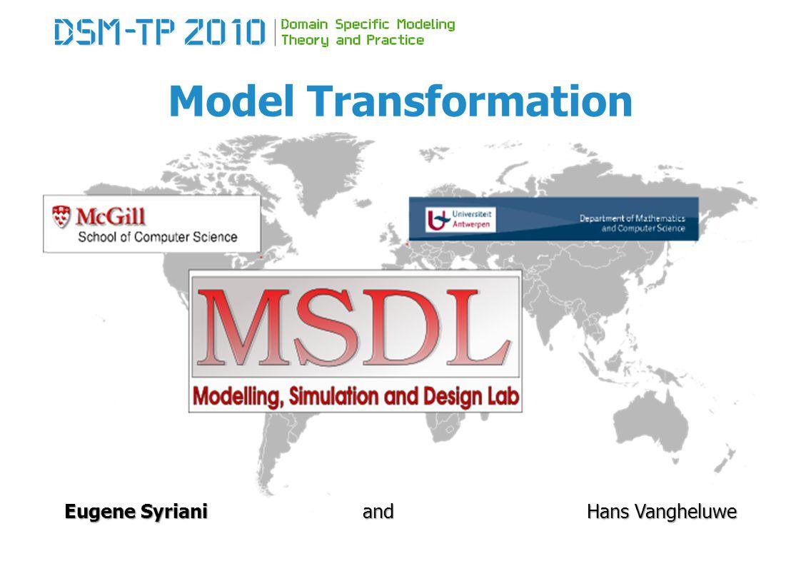 Model Transformation Most Used Rule-based Transformation Tools Graph Rewriting and Transformation: VIATRA 82 Since 2002, VIATRA2 since 2006 Budapest University of Technology and Economics (Hungary) Dániel Varró