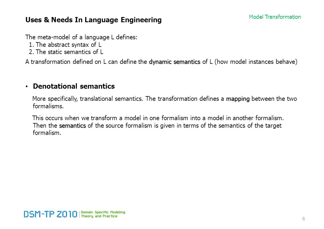 Model Transformation Uses & Needs In Language Engineering The meta-model of a language L defines: 1.The abstract syntax of L 2.The static semantics of