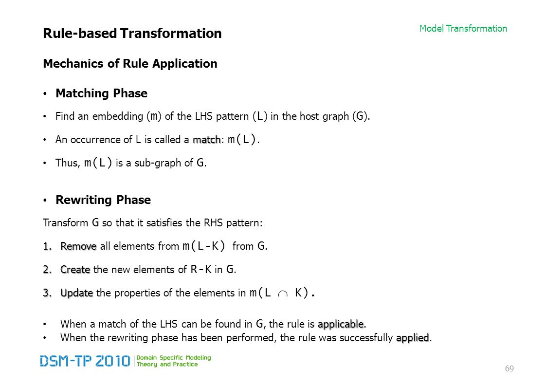 Model Transformation Rule-based Transformation Mechanics of Rule Application Matching Phase Find an embedding ( m ) of the LHS pattern ( L ) in the ho