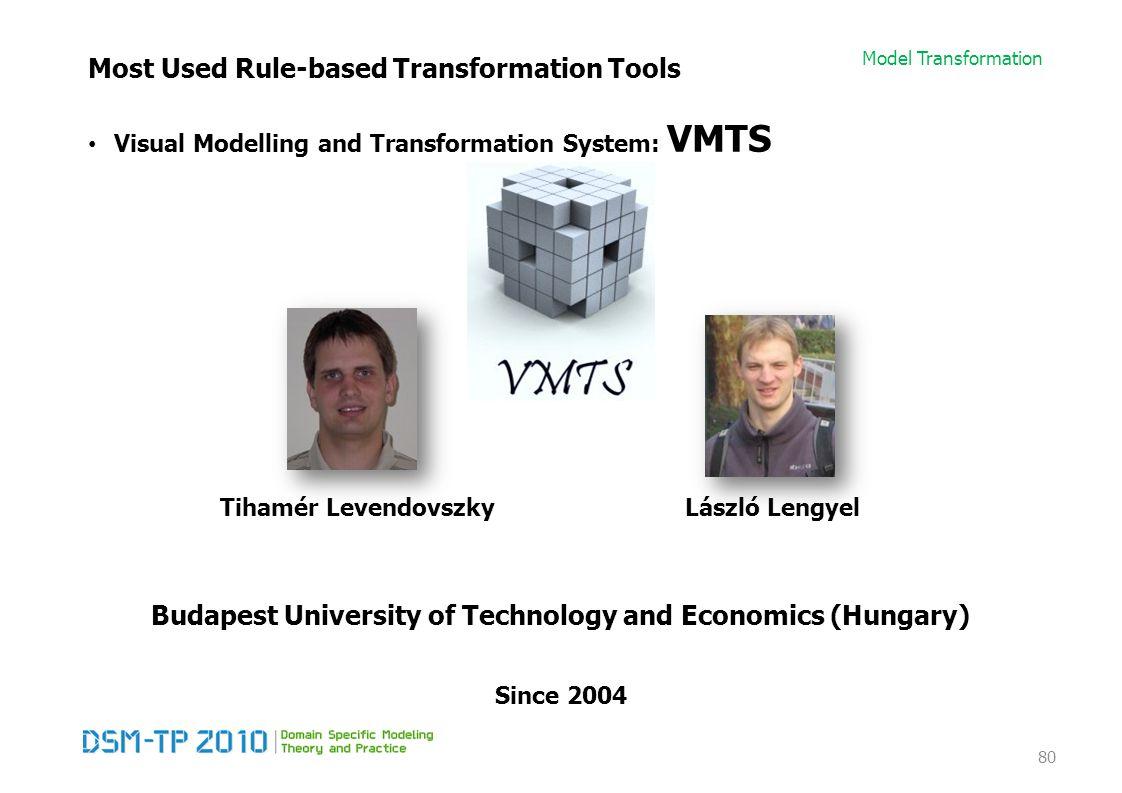 Model Transformation Most Used Rule-based Transformation Tools Visual Modelling and Transformation System: VMTS 80 Since 2004 Budapest University of Technology and Economics (Hungary) Tihamér LevendovszkyLászló Lengyel